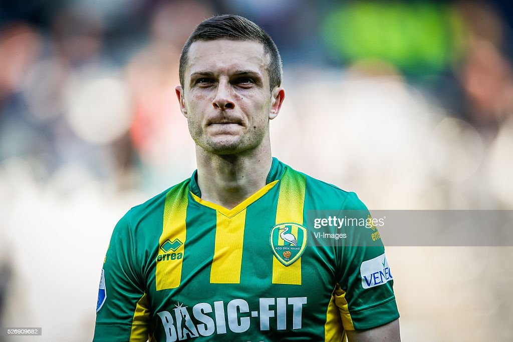 Timothy Derijck of ADO Den Haag during the Dutch Eredivisie match between Heracles Almelo and ADO Den Haag at Polman stadium on May 01, 2016 in Almelo, The Netherlands