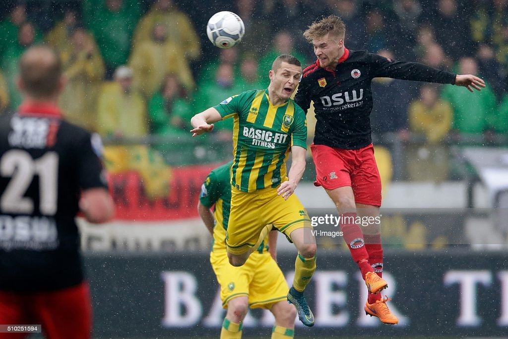 Timothy Derijck of ADO Den Haag, Tom van Weert of Excelsior Rotterdam during the Dutch Eredivisie match between Excelsior Rotterdam and ADO Den Haag at Woudenstein stadium on February 14, 2016 in Rotterdam, The Netherlands