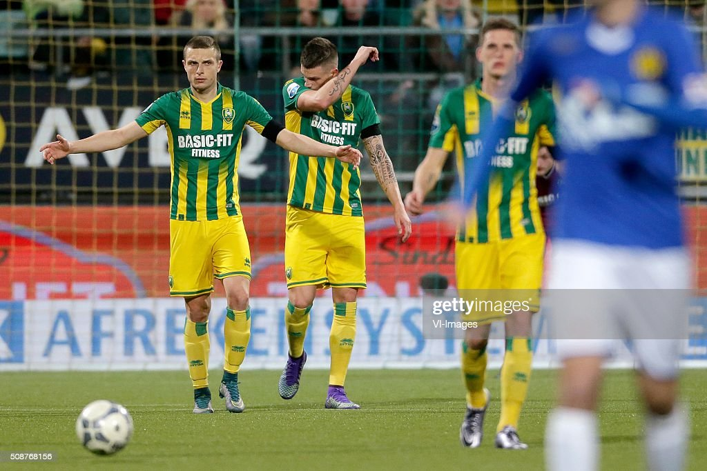 Timothy Derijck of ADO Den Haag, Vito Wormgoor of ADO Den Haag, Kevin Jansen of ADO Den Haag during the Dutch Eredivisie match between ADO Den Haag and Roda JC Kerkrade at Kyocera stadium on February 06, 2016 in The Hague, The Netherlands