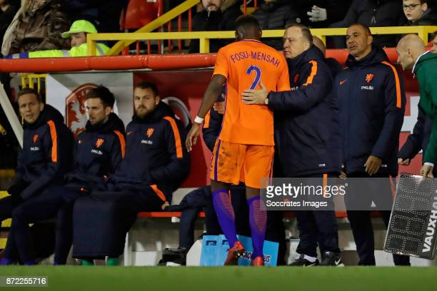 Timothy Fosu Mensah of Holland coach Dick Advocaat of Holland during the International Friendly match between Scotland v Holland at the Pittodrie...