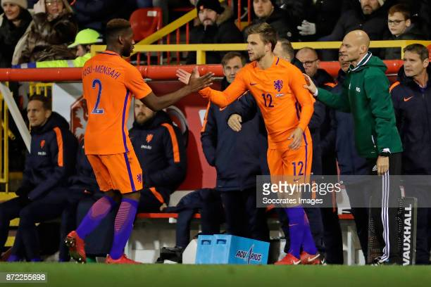 Timothy Fosu Mensah of Holland is replaced by Daley Blind of Holland during the International Friendly match between Scotland v Holland at the...