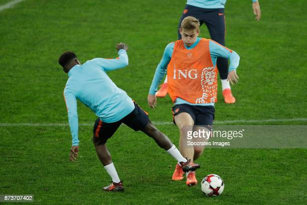 Timothy Fosu Mensah of Holland Matthijs de Ligt of Holland during the match between Training Holland in Bucharest at the Arena Nationala on November...