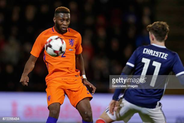 Timothy Fosu Mensah of Holland Ryan Christie of Scotland during the International Friendly match between Scotland v Holland at the Pittodrie Stadium...