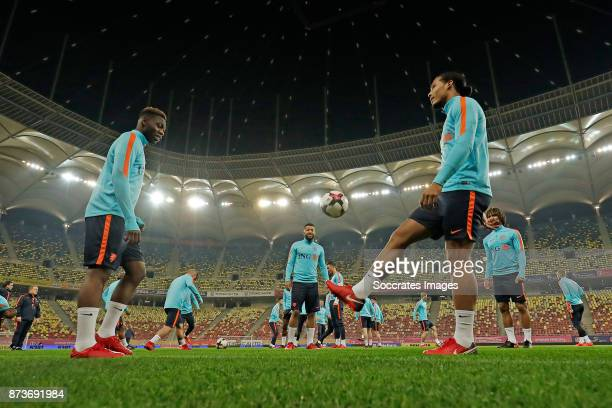 Timothy Fosu Mensah of Holland Virgil van Dijk of Holland during the match between Training Holland in Bucharest at the Arena Nationala on November...