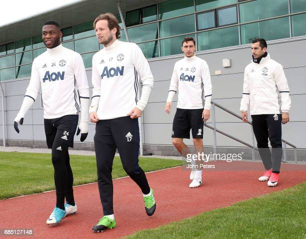 Timothy FosuMensah Daley Blind Henrikh Mkhitaryan and Matteo Darmian of Manchester United in action during a first team training session at Aon...