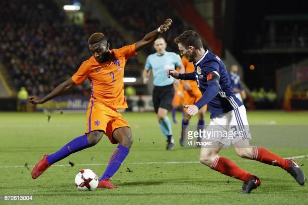 Timothy FosuMensah of Holland Andrew Robertson of Scotland during the friendly match between Scotland and The Netherlands on November 09 2017 at...