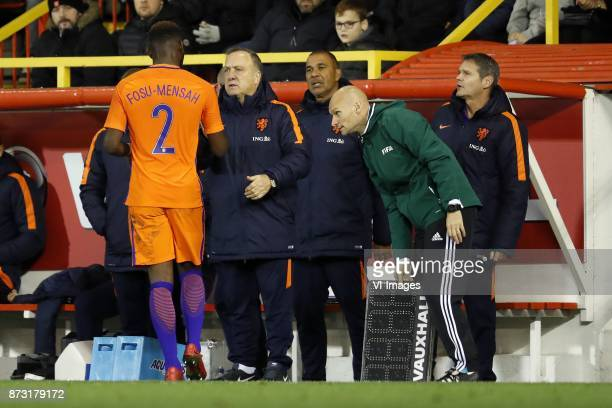 Timothy FosuMensah of Holland coach Dick Advocaat of Holland assistant trainer Ruud Gullit of Holland doctor Edwin Goedhart of Holland during the...