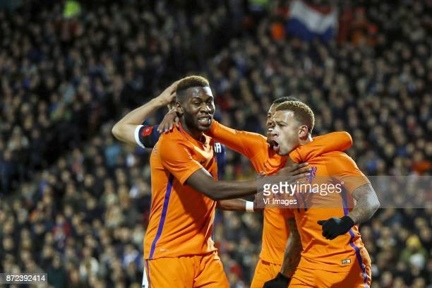 Timothy FosuMensah of Holland Georginio Wijnaldum of Holland Memphis Depay of Holland during the friendly match between Scotland and The Netherlands...