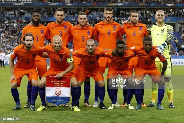 Timothy FosuMensah of Holland Stefan de Vrij of Holland Vincent Janssen of Holland Wesley Hoedt of Holland Kevin Strootman of Holland goalkeeper...