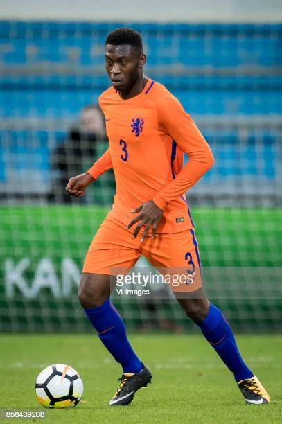 Timothy FosuMensah of Jong Oranje during the EURO U21 2017 qualifying match between Netherlands U21 and Latvia U21 at the Vijverberg stadium on...