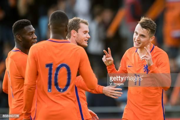 Timothy FosuMensah of Jong Oranje Riechedly Bazoer of Jong Oranje Thomas Ouwejan of Jong Oranje Oussama Idrissi of Jong Oranje 10 during the EURO U21...