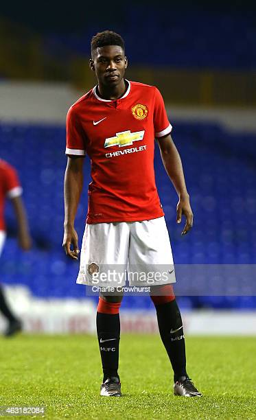 Timothy FosuMensah of Man United during the FA Youth Cup Fifth Round match between Tottenham Hotspur and Manchester United at White Hart Lane on...