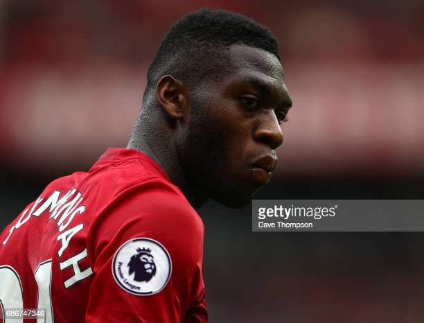Timothy FosuMensah of Manchester United during the Premier League match between Manchester United and Crystal Palace at Old Trafford on May 21 2017...