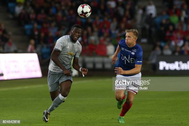 Timothy FosuMensah of Manchester United in action against Ivan Nasberg of Valerenga today at Ullevaal Stadion on July 30 2017 in Oslo Norway