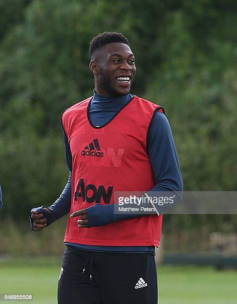 Timothy FosuMensah of Manchester United in action during a first team training session at Aon Training Complex on July 13 2016 in Manchester England