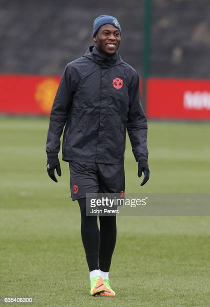 Timothy FosuMensah of Manchester United in action during a first team training session at Aon Training Complex on February 15 2017 in Manchester...