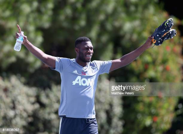 Timothy FosuMensah of Manchester United in action during a first team training session as part of their preseason tour of the USA at UCLA on July 18...