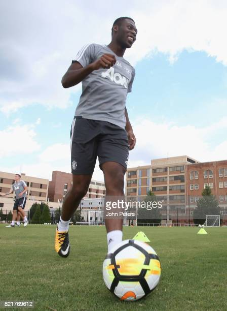 Timothy FosuMensah of Manchester United in action during a first team training session as part of their preseason tour of the USA at Shaw Field on...