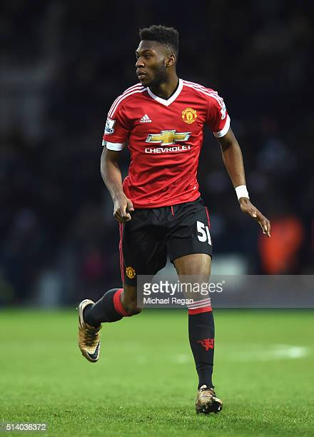 Timothy FosuMensah of Manchester United in action during the Barclays Premier League match between West Bromwich Albion and Manchester United at The...