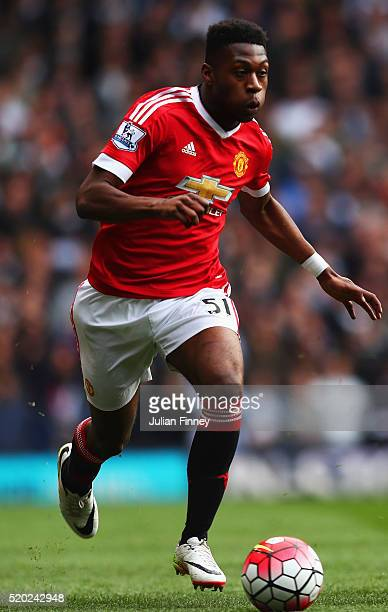 Timothy FosuMensah of Manchester United in action during the Barclays Premier League match between Tottenham Hotspur and Manchester United at White...