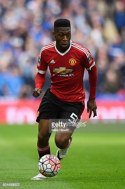 Timothy FosuMensah of Manchester United in action during the Emirates FA Cup Semi Final between Everton and Manchester United at Wembley Stadium on...