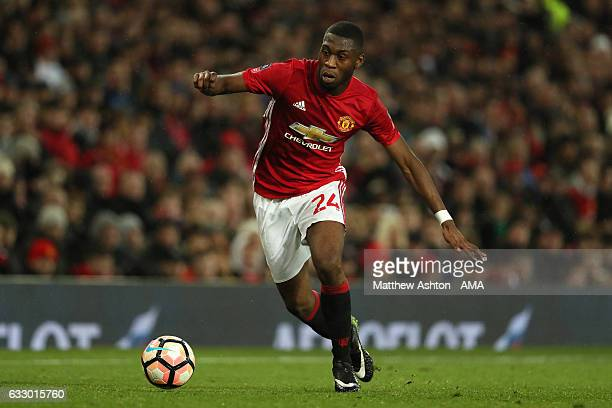 Timothy FosuMensah of Manchester United in action during the FA Cup fourth round match between Manchester United and Wigan Athletic at Old Trafford...