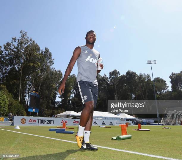 Timothy FosuMensah of Manchester United in acton during a first team training session as part of their preseason tour of the USA at UCLA on July 21...