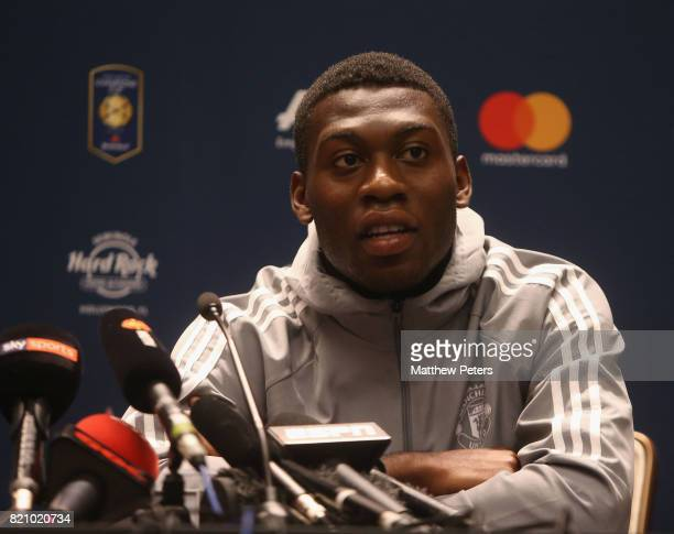 Timothy FosuMensah of Manchester United speaks during a press conference as part of their preseason tour of the USA on July 22 2017 in Palo Alto...