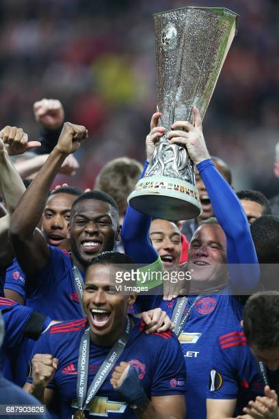 Timothy FosuMensah of Manchester United Wayne Rooney of Manchester Unitedduring the UEFA Europa League final match between Ajax Amsterdam and...
