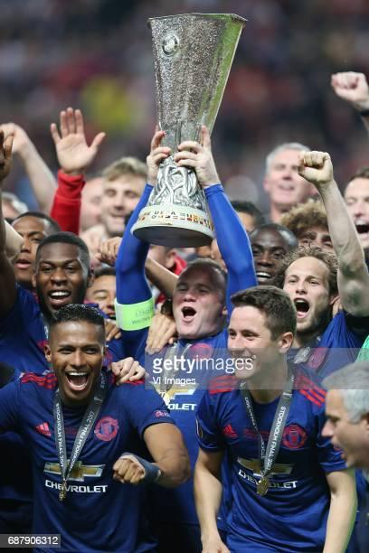 Timothy FosuMensah of Manchester United Wayne Rooney of Manchester United Daley Blind of Manchester Unitedduring the UEFA Europa League final match...
