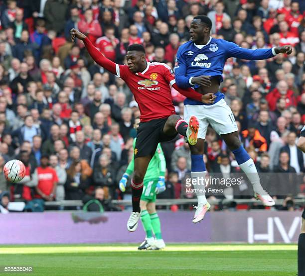 Timothy FosuMensahl of Manchester United in action with Romelu Lukaku of Everton during the Emirates FA Cup Semi Final match between Manchester...