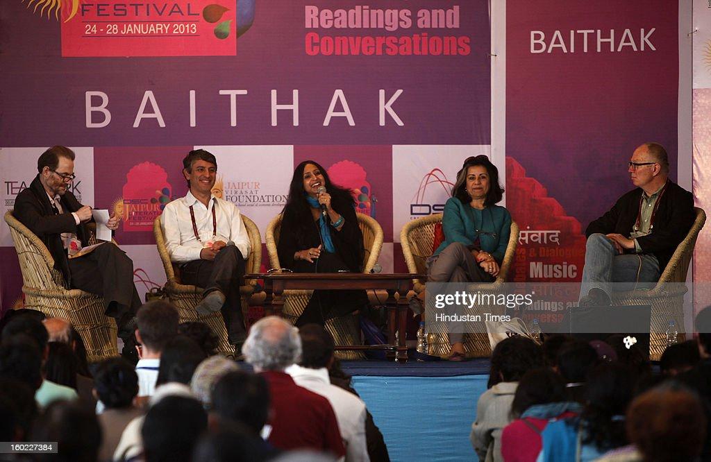 Timothy Garton Ash, Reza Aslan, Shoma Chaudhury, Ahdaf Soueif and Ian Buruma at the Jaipur Literature Festival on January 28, 2013 in Jaipur, India.