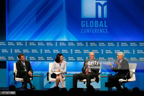 Timothy Geithner president of Warburg Pincus LLC and former US Treasury secretary from left Sheryl Sandberg chief operating officer of Facebook Inc...