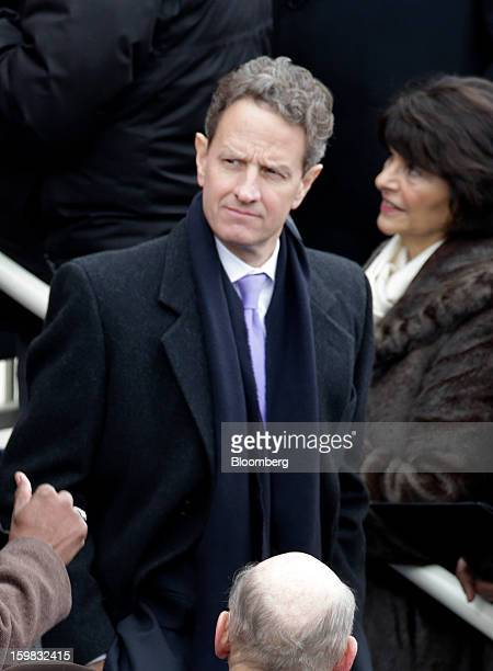 Timothy Geithner US treasury secretary arrives during the US presidential inauguration in Washington DC US on Monday Jan 21 2013 As he enters his...