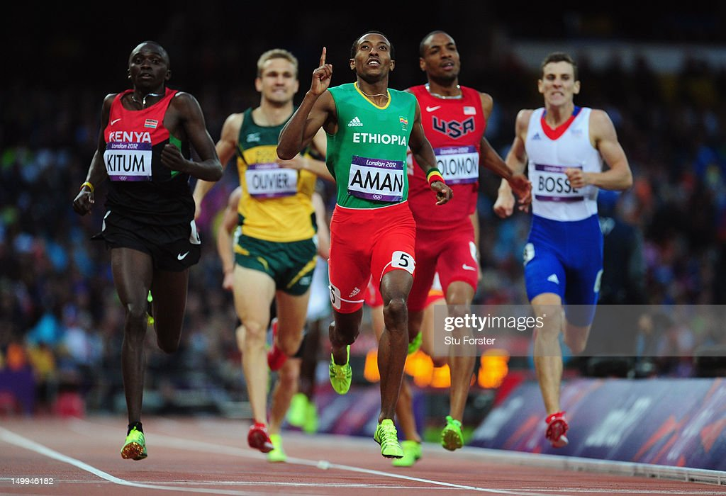Timothy Kitum of Kenya and <a gi-track='captionPersonalityLinkClicked' href=/galleries/search?phrase=Mohammed+Aman&family=editorial&specificpeople=7149144 ng-click='$event.stopPropagation()'>Mohammed Aman</a> of Ethiopia competes in the Men's 800m Semifinals on Day 11 of the London 2012 Olympic Games at Olympic Stadium on August 7, 2012 in London, England.