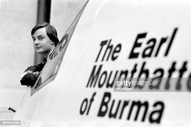 Timothy Knatchbull grandson of the Earl Mountbatten of Burma in the cockpit of 'The Earl Mountbatten of Burma' Britannia Airway's first Boeing 767...