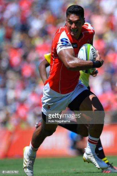 Timothy Lafaele of Sunwolves runs with the ball during the Super Rugby match between the Sunwolves and the Blues at Prince Chichibu Stadium on July...
