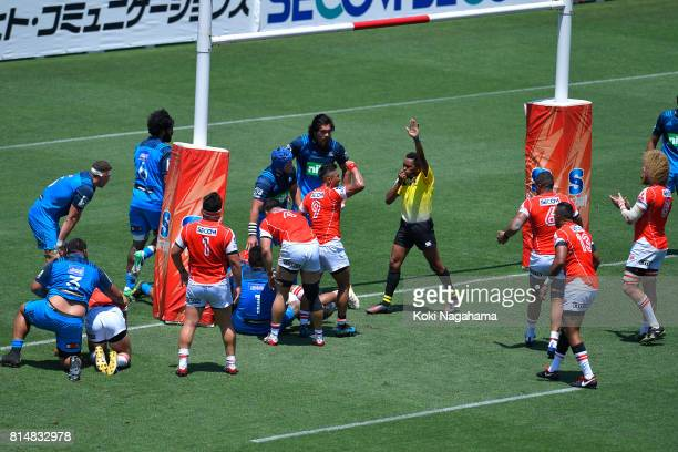 Timothy Lafaele of Sunwolves scores the team first try during the Super Rugby match between the Sunwolves and the Blues at Prince Chichibu Stadium on...