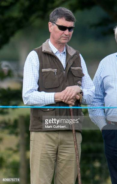 Timothy Laurence watches Zara Tindall compete in the dressage on BGS Class Affair at the Festival of British Eventing at Gatcombe Park on August 5...