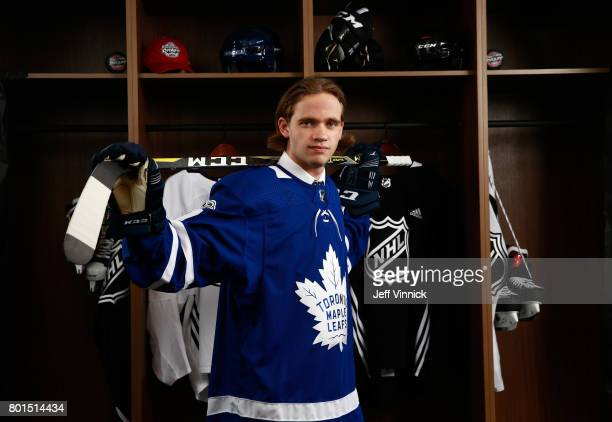 Timothy Liljegren 17th overall pick of the Toronto Maple Leafs poses for a portrait during Round One at United Center on June 23 2017 in Chicago...