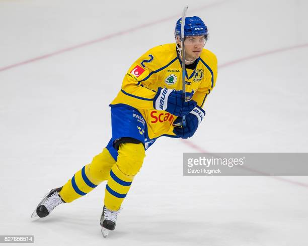 Timothy Liljegren of Sweden turns up ice against USA during a World Jr Summer Showcase game at USA Hockey Arena on August 2 2017 in Plymouth Michigan...