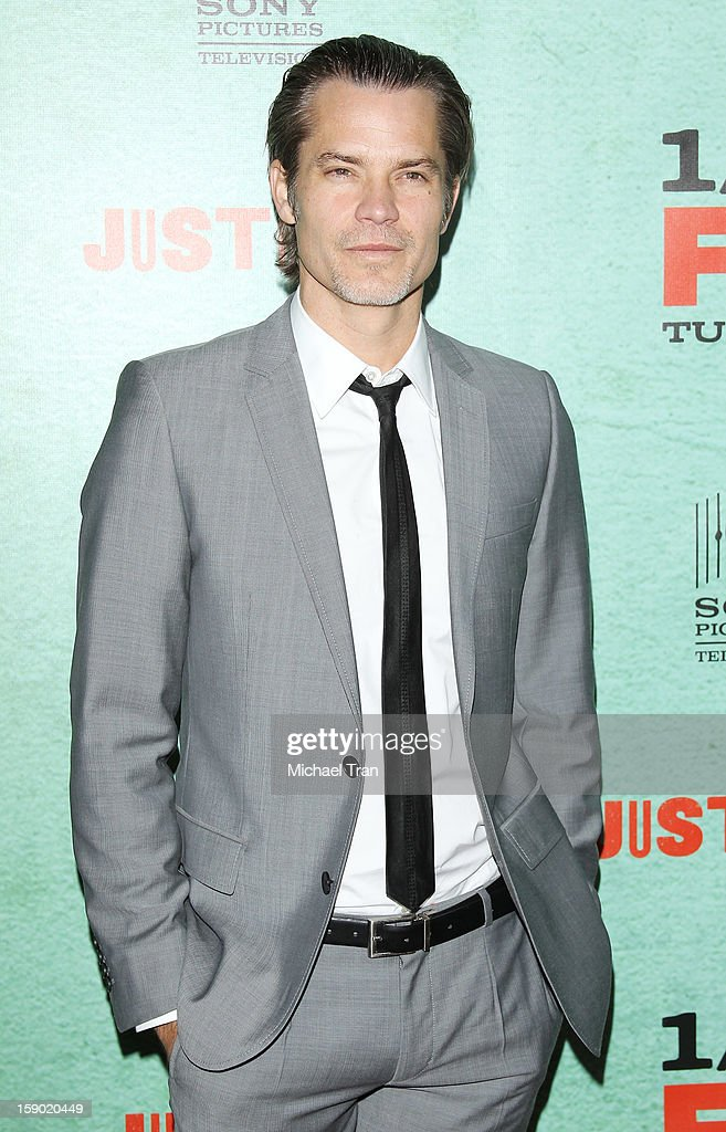 Timothy Olyphant arrives at season 4 premiere of FX's 'Justified' held at Paramount Theater on the Paramount Studios lot on January 5, 2013 in Hollywood, California.