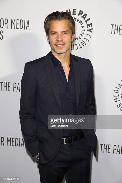 Timothy Olyphant arrives at The Paley Center For Media's 2013 benefit gala honoring FX networks at Fox Studio Lot on October 16 2013 in Century City...