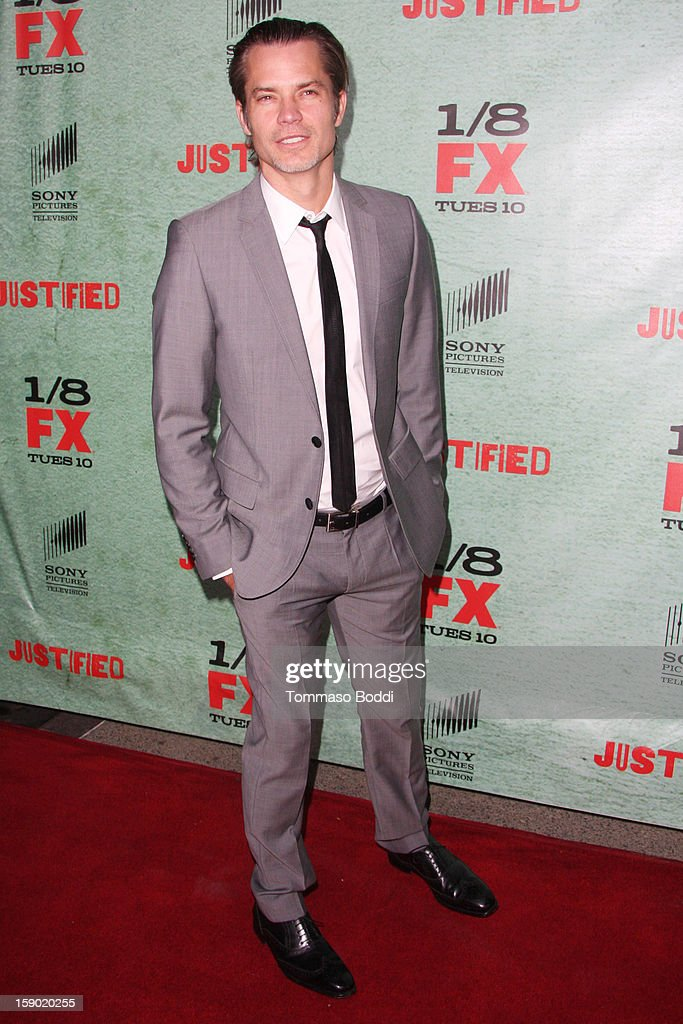 Timothy Olyphant attends the FX's 'Justified' season 4 premiere held at Paramount Theater on the Paramount Studios lot on January 5, 2013 in Hollywood, California.