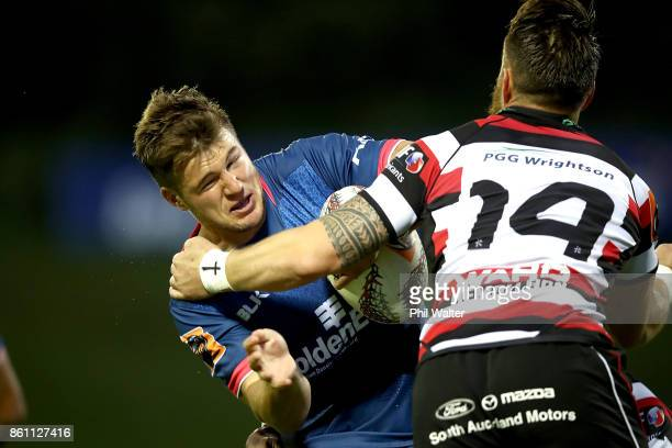 Timothy O'Malley of Tasman is tackled during the round nine Mitre 10 Cup match between Counties Manukau and Tasman at ECOLight Stadium on October 14...