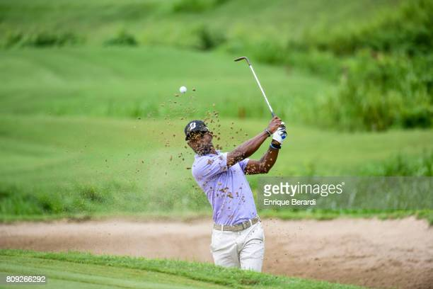 Timothy O'Neal of the United States hits out of a bunker on the 17th hole during the third round of the PGA TOUR Latinoamerica BMW Jamaica Classic at...