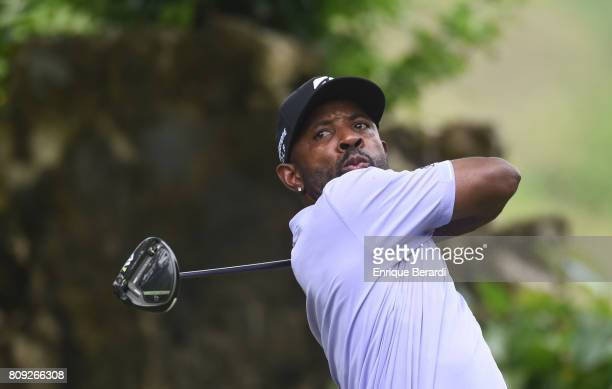 Timothy O'Neal of the United States tees off on the 18th hole during the third round of the PGA TOUR Latinoamerica BMW Jamaica Classic at Cinnamon...