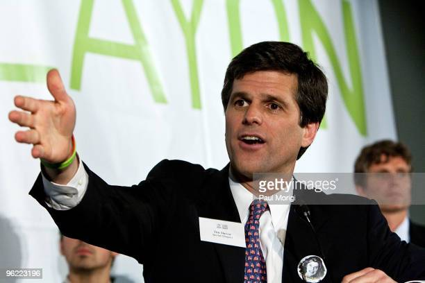 Timothy P Shriver Chairman CEO Special Olympics on the podium at the Eunice Kennedy Shriver Act support reception at the Hart Building on January 27...