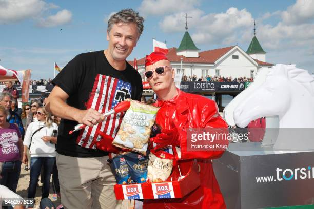Timothy Peach and Living Doll Performer JOHNman attend the Till Demtroeders CharityEvent 'Usedom Cross Country' at Seebruecke Ahlbeck on September 10...