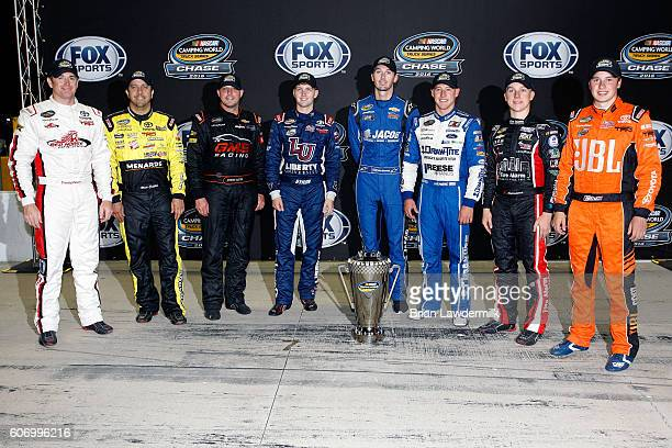 Timothy Peters driver of the Red Horse Racing Toyota Matt Crafton driver of the Fisher Nuts/Menards Toyota Johnny Sauter driver of the Alamo...